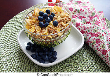 Breakfast cereal with blueberries - A bowl of breakfast...