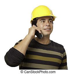 努力, 被隔离, 承包商,  hispanic, 白色, 帽子, 漂亮