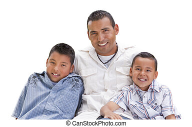Hispanic Father and Sons on White - Handsome Hispanic Father...