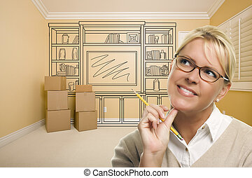 Daydreaming Woman Holding Pencil In Rom with Shelf Drawing...