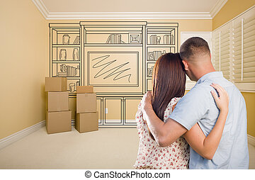 Military Couple In Empty Room with Shelf Drawing on Wall
