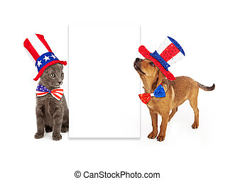Patriotic Puppy and Kitten Blank Sign - A young kitten and...