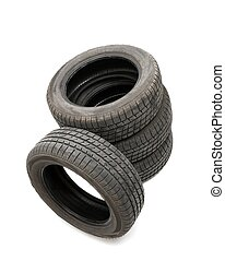 Tyres - Four tyres isolated on white background