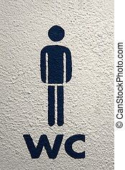 WC - Men\'s toilet sign on white wall