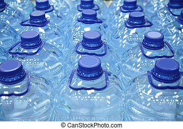 plastic bottles of water