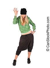hip-hop girl gesture hello