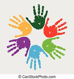 Hand prints - circle of different coloured hand prints on a...