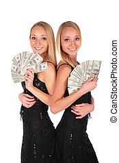 bliźniak, dziewczyny, dolary