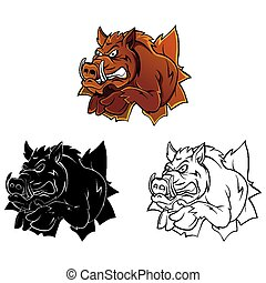 Coloring book Wild Boar character - Coloring book Wild Boar...