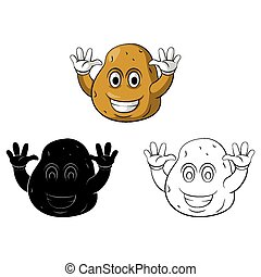 Coloring book Potato character - Coloring book Potato Smile...