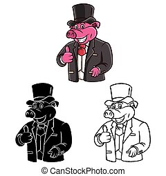 Coloring book Pig character - Coloring book Pig Businessman...
