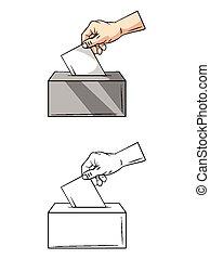 Coloring book Vote Hand character - Coloring book Vote Hand...