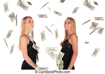 jumeau, gilrs, regarde, Tomber, dollar