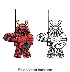 Coloring book Samurai character - Coloring book Samurai...
