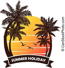 summer holiday vector - Tropical beach Sunset, Sunrise with...