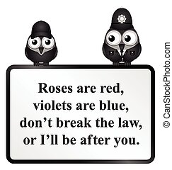 Break the Law UK Poem - Monochrome comical do not break the...