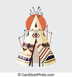 Indian tepee - Vector illustration of Indian house Tepees...
