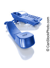 blue office telephone - blue telephone with receiver...