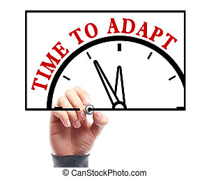 Time to adapt - Businessman is drawing the concept of time...