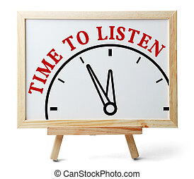 Time to listen concept is on white board isolated on white...