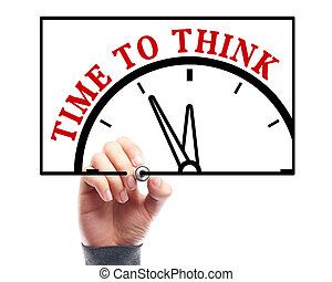 Time to think - Businessman is drawing the concept of time...