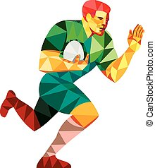 Rugby Player Fend Off Low Polygon - Low polygon style...
