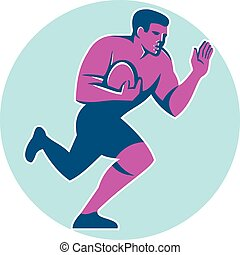 Rugby Player Fend Off Circle Retro - Illustration of rugby...
