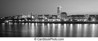 Portland Oregon Downtown City Skyline Reflection Willamette...