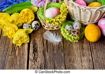 Easter background - Easter background. Easter eggs on wooden...
