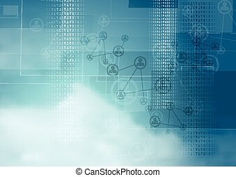 Blue cloudy sky vector tech background - Blue cloudy sky...