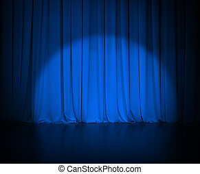 theatre dark blue curtain or drapes with light spot -...