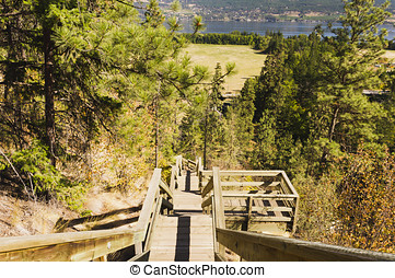 Steep mountain stairs - A steep staircase leads up a ravine...