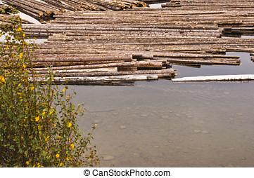 Log boom in clear lake