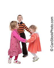 2, niños, bailando