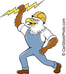 Bald Eagle Electrician Lightning Bolt Standing Cartoon -...