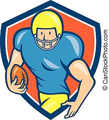 American Football Running Back Shield Cartoon - Illustration...