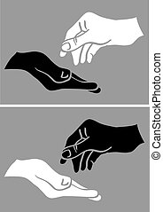 Give and Take White and Black Hand Vector Illustration -...
