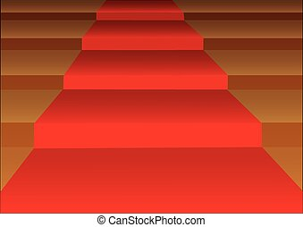 Red Carpet Stairsteps Vector Illustration - Vector...