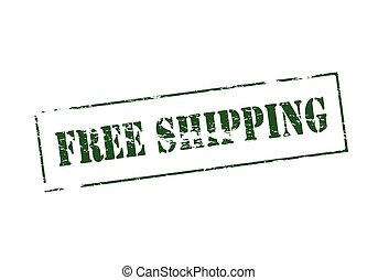 Free shipping - Stamp with text free shipping inside, vector...