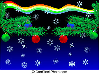 New Year\'s card - Fur-tree branches with multi-coloured...