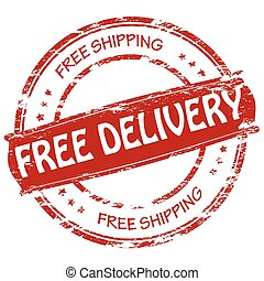 Free delivery - Stamp with text free delivery inside, vector...