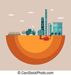 Vector concept of biofuels refinery plant for processing...