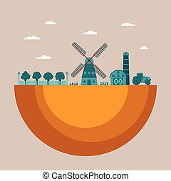 Vector concept of farming process with garden mill barn and...