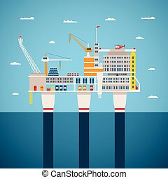 Vector concept of oil and gas offshore industry with...