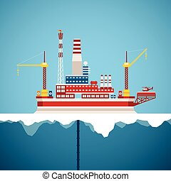 Vector concept of arctic oil and gas offshore industry with...