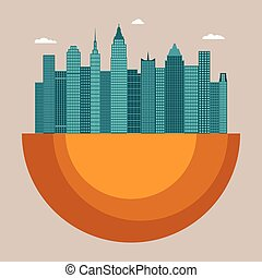 Cityscape vector illustration concept with office buildings...
