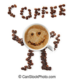 Coffee mascot of cup and beans - Coffee mascot and...