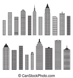 Set of vector flat building icons isolated on white...