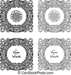 Doodle Retro Floral Wreath Set - Doodle floral wreath set...