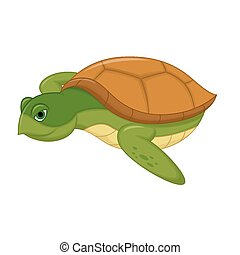 Sea Turtle Swiming Cartoon - Vector Illustration Of Sea...